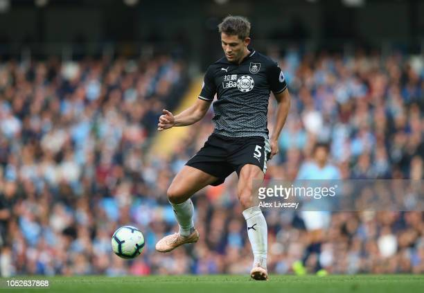 James Tarkowski of Burnley FC during the Premier League match between Manchester City and Burnley FC at Etihad Stadium on October 20 2018 in...