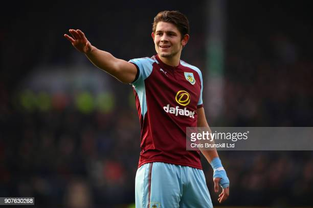 James Tarkowski of Burnley gestures during the Premier League match between Burnley and Manchester United at Turf Moor on January 20 2018 in Burnley...