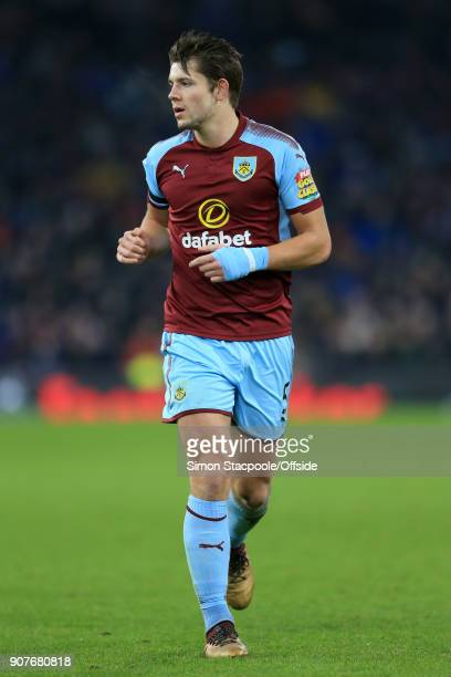 James Tarkowski of Burnley in action during the Premier League match between Burnley and Manchester United at Turf Moor on January 20 2018 in Burnley...