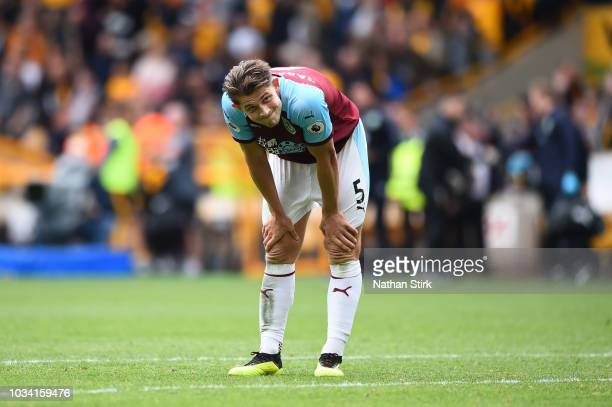 James Tarkowski of Burnley looks dejected following his sides defeat in the Premier League match between Wolverhampton Wanderers and Burnley FC at...