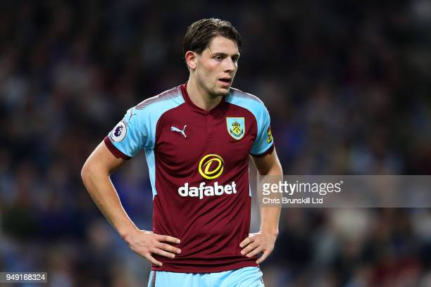 James Tarkowski of Burnley looks on during the Premier League match between Burnley and Chelsea at Turf Moor on April 19 2018 in Burnley England