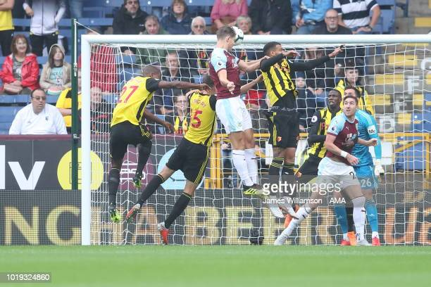 James Tarkowski of Burnley scores a goal to make it 11 during the Premier League match between Burnley FC and Watford FC at Turf Moor on August 19...