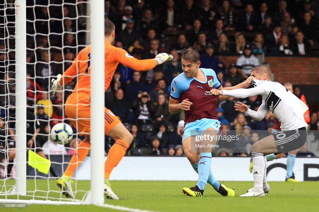 James Tarkowski of Burnley scores his team's second goal during the Premier League match between Fulham FC and Burnley FC at Craven Cottage on August 26, 2018 in London, United Kingdom.