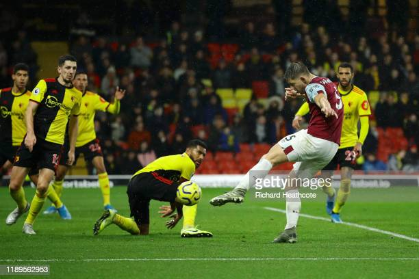 James Tarkowski of Burnley scores his team's third goal during the Premier League match between Watford FC and Burnley FC at Vicarage Road on...