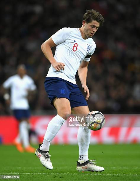 James Tarkowski of England controls the ball during the International friendly between England and Italy at Wembley Stadium on March 27 2018 in...