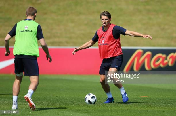 James Tarkowski of England passes the ball during a training session at St Georges Park on May 22 2018 in BurtonuponTrent England