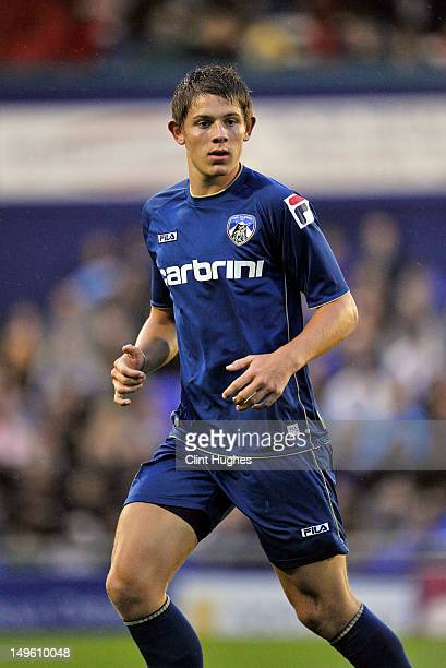James Tarkowski of Oldham Athletic in action during the pre season friendly match between Oldham Athletic and Manchester City at Boundry Park on July...