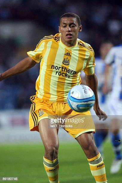 James Tavernier in action during a preseason friendly match between Huddersfield Town and Newcastle United at the Galpharm Stadium on July 21 2009 in...