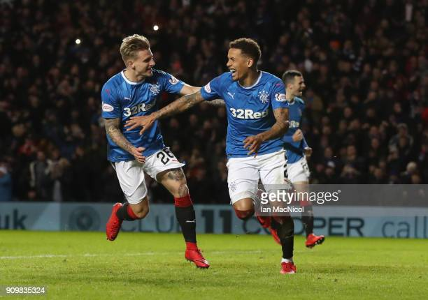 James Tavernier of Rangers celebrates after he scores a penalty during the Ladbrokes Scottish Premiership match between Rangers and Aberdeen at Ibrox...