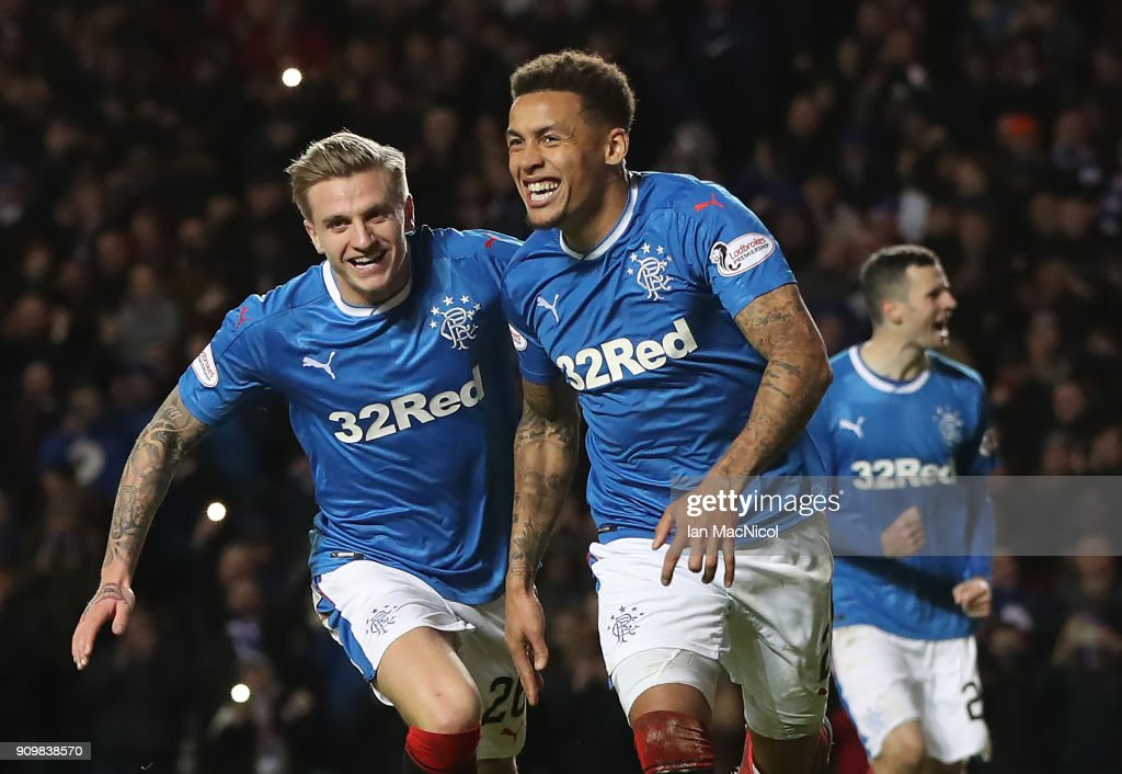 James Tavernier of Rangers celebrates after he scores a penalty during the Ladbrokes Scottish Premiership match between Rangers and Aberdeen at Ibrox Stadium on January 24, 2018 in Glasgow, Scotland.