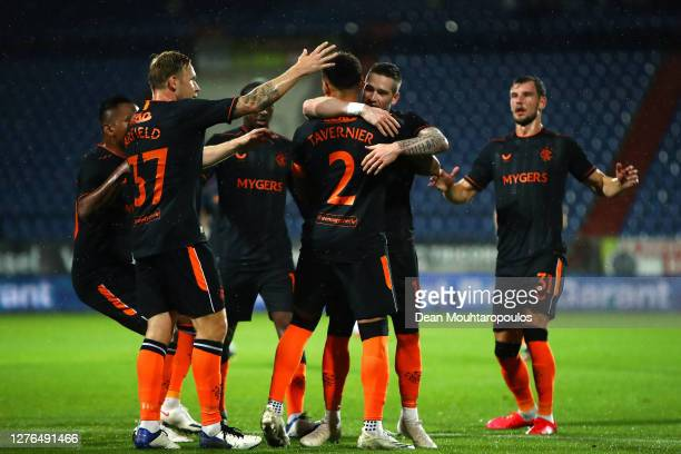 James Tavernier of Rangers celebrates after he scores his sides sides first goal from the penalty spot during the UEFA Europa League third qualifying...