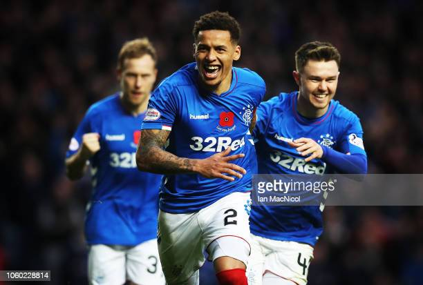 James Tavernier of Rangers celebrates after he scores his team's second goal during the Ladbrokes Scottish Premiership match between Rangers and...