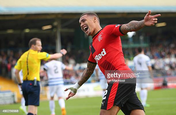 James Tavernier of Rangers celebrates after he scores Rangers' third goal during the Scottish Championships match between Greenock Morton FC and...