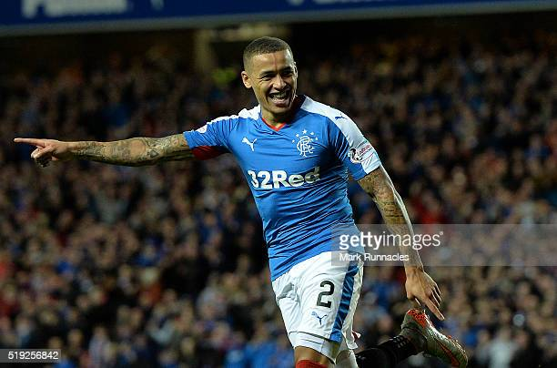 James Tavernier of Rangers celebrates scoring a goal early in the second half during the Scottish Championship match between Glasgow Rangers FC and...