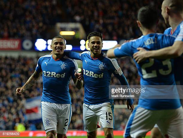 James Tavernier of Rangers celebrates scoring a goal with team mate Harry Forrester early in the second half during the Scottish Championship match...