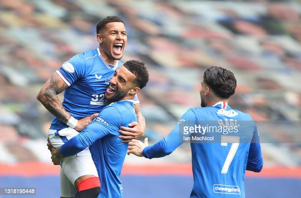 James Tavernier of Rangers celebrates with team mate Connor Goldson after he scores the opening goal during the Scottish Premiership match between...