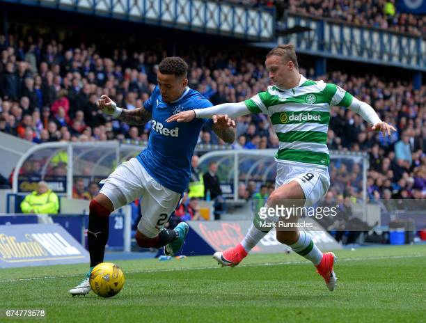 James Tavernier of Rangers challenges Leigh Griffiths of Celtic during the Ladbrokes Scottish Premiership match between Rangers FC and Celtic FC at...