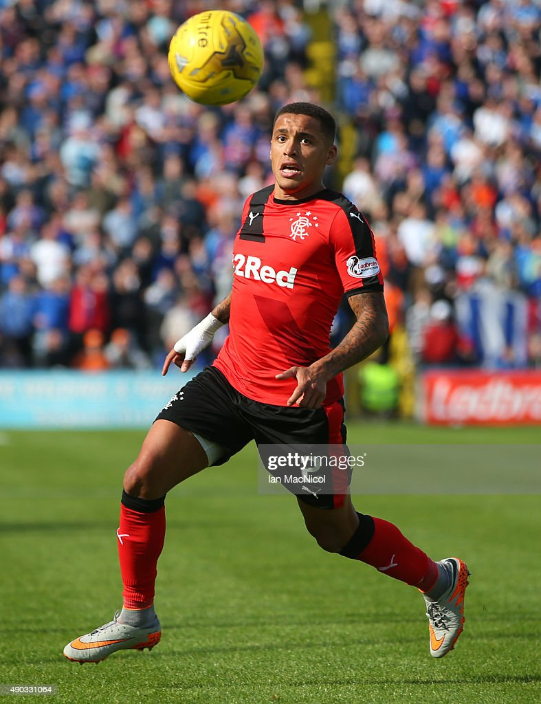 James Tavernier of Rangers controls the ball during the Scottish Championships match between Greenock Morton FC and Rangers at Cappielow Park on September 27, 2015 in Greenock, Scotland.