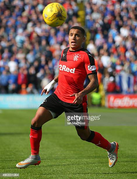 James Tavernier of Rangers controls the ball during the Scottish Championships match between Greenock Morton FC and Rangers at Cappielow Park on...