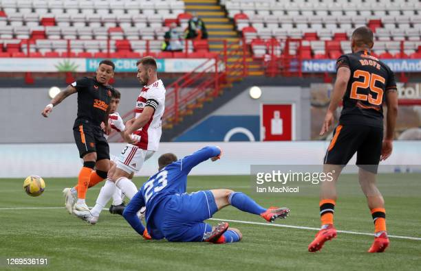 James Tavernier of Rangers FC scores his team's second goal during the Ladbrokes Scottish Premiership match between Hamilton Academical and Rangers...