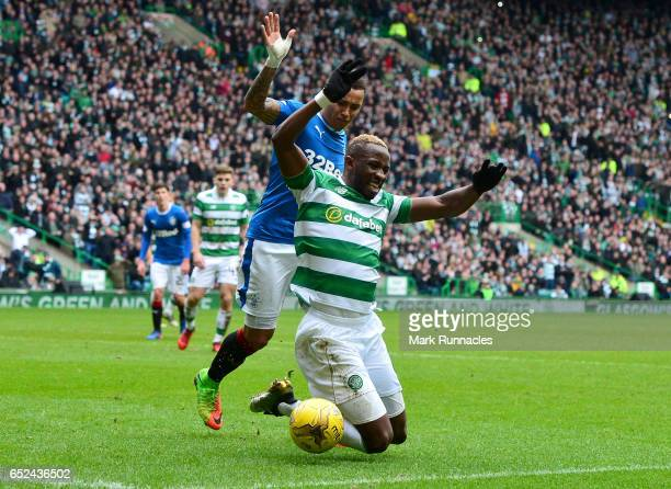 James Tavernier of Rangers fouls Moussa Dembele of Celtic during the Ladbrokes Scottish Premiership match between Celtic and Rangers at Celtic Park...