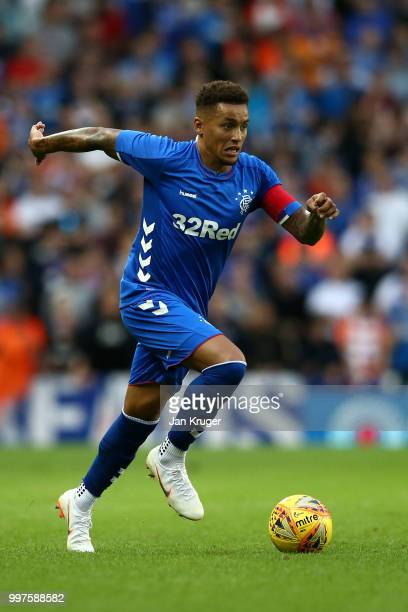James Tavernier of Rangers in action during the UEFA Europa League Qualifying Round match between Rangers and Shkupi at Ibrox Stadium on July 12 2018...