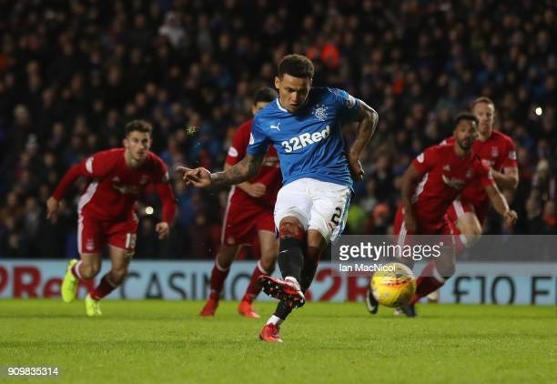 James Tavernier of Rangers scores a penalty during the Ladbrokes Scottish Premiership match between Rangers and Aberdeen at Ibrox Stadium on January...