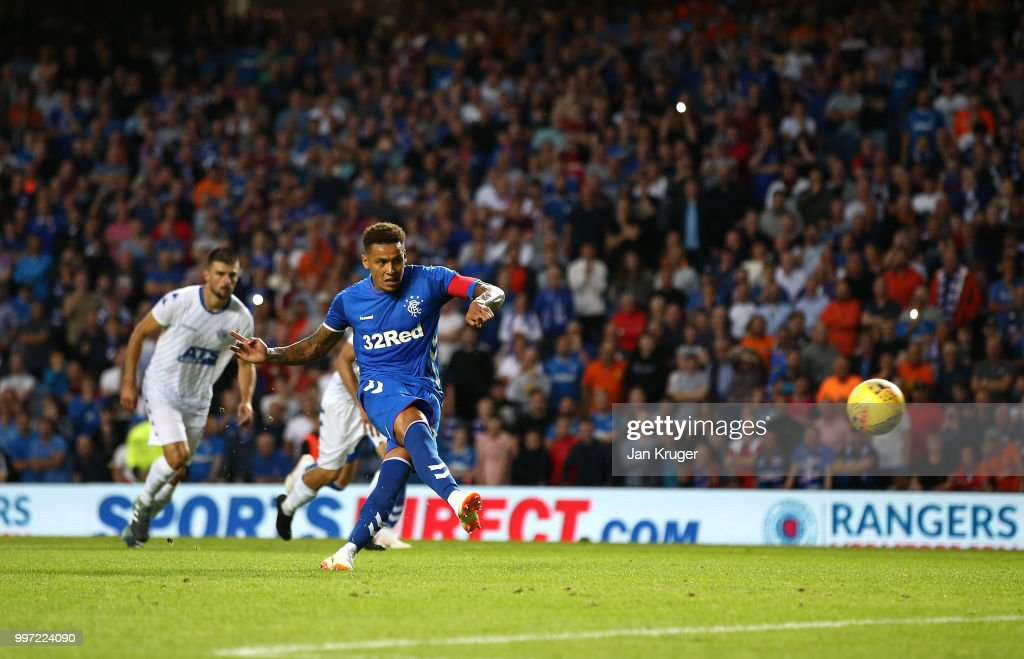 James Tavernier of Rangers scores his sides second goal from the penalty spot during the UEFA Europa League Qualifying Round match between Rangers and Shkupi at Ibrox Stadium on July 12, 2018 in Glasgow, Scotland.
