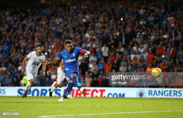 James Tavernier of Rangers scores his sides second goal from the penalty spot during the UEFA Europa League Qualifying Round match between Rangers...