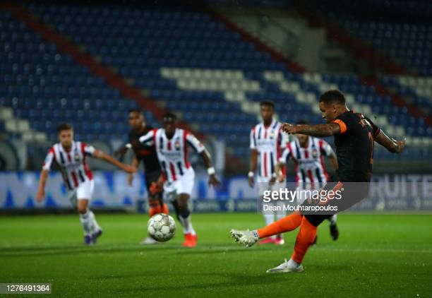 James Tavernier of Rangers scores his sides sides first goal from the penalty spot during the UEFA Europa League third qualifying round match between...