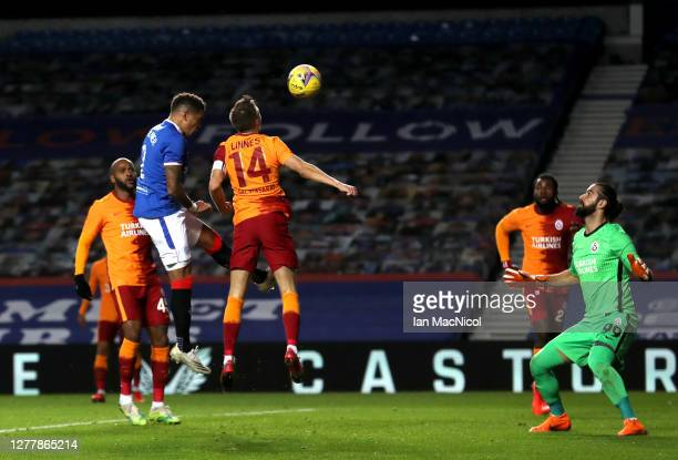 James Tavernier of Rangers scores his team's second goal during the UEFA Europa League play-off match between Rangers and Galatasaray at Ibrox...