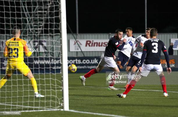 James Tavernier of Rangers scores their sides fourth goal past Peter Morrison of Falkirk during the Betfred Cup match between Falkirk and Rangers FC...