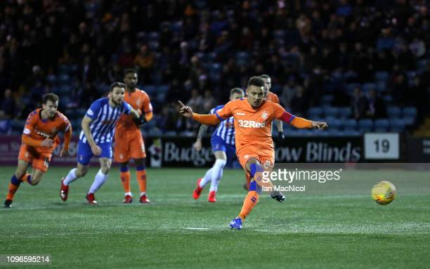 James Tavernier of Rangers shoots from a penalty and misses during the Scottish Cup 5th Round match between Kilmarnock and Rangers at Rugby Park on...