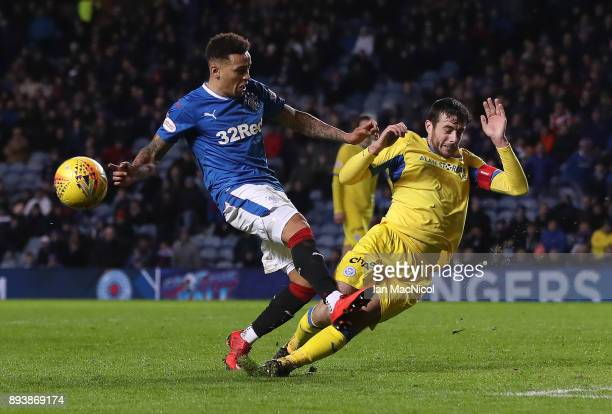 James Tavernier of Rangers shot is blocked by Joe Shaughnessy of St Johnstone during the Ladbrokes Scottish Premiership match between Rangers and St...