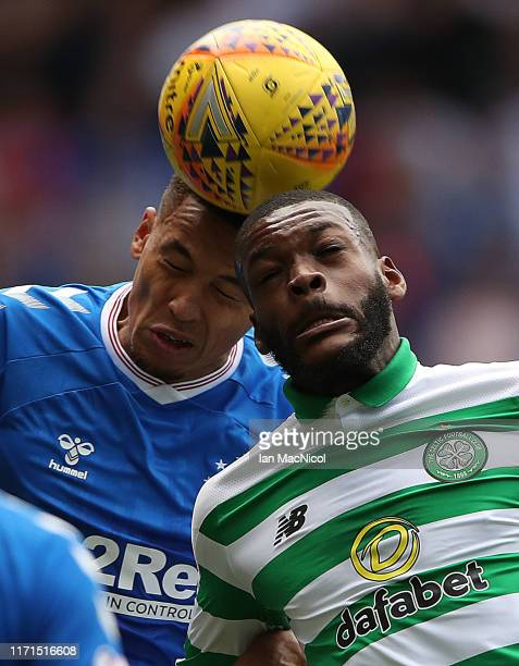 James Tavernier of Rangers vies with Olivier Ntcham of Celtic during the Ladbrokes Premiership match between Rangers and Celtic at Ibrox Stadium on...