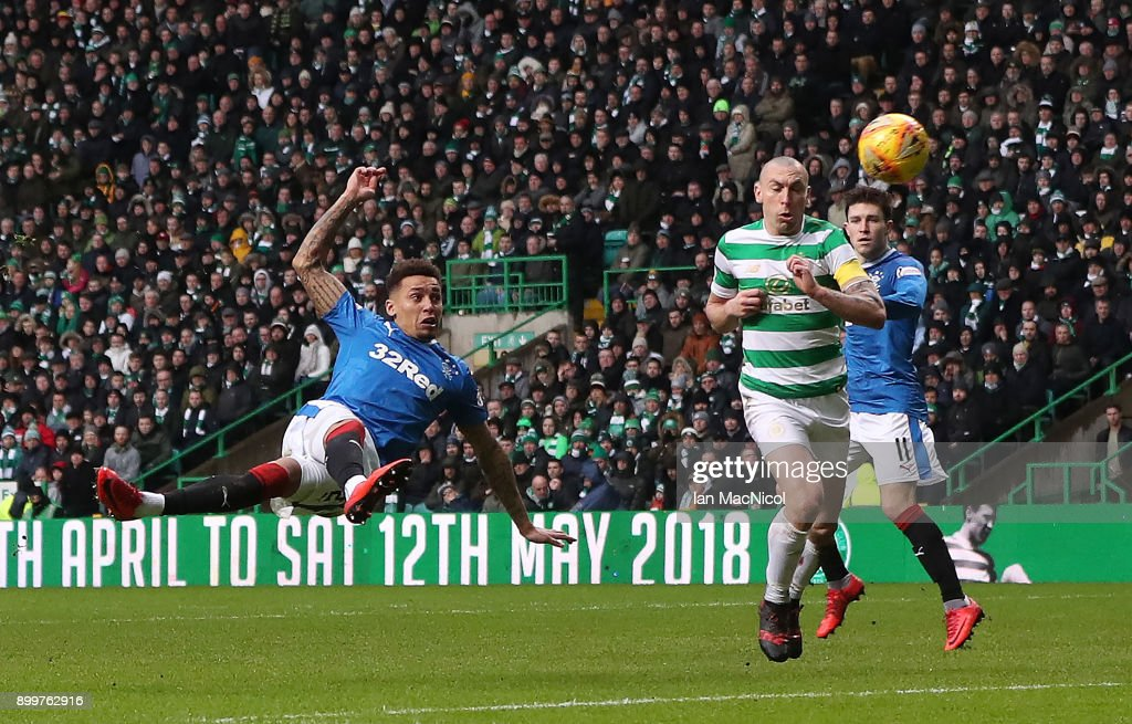 James Tavernier of Rangers volleys at goal during the Scottish Premier League match between Celtic and Rangers at Celtic Park on December 30, 2017 in Glasgow, Scotland.