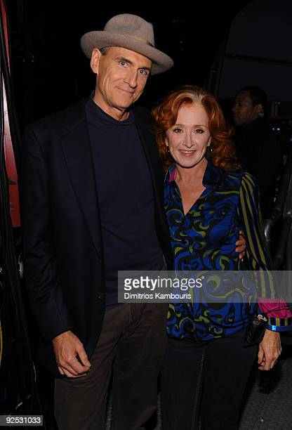 *EXCLUSIVE* James Taylor and Bonnie Raitt attend the 25th Anniversary Rock Roll Hall of Fame Concert at Madison Square Garden on October 29 2009 in...