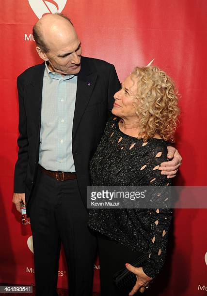 James Taylor and Carole King attend 2014 MusiCares Person Of The Year Honoring Carole King at Los Angeles Convention Center on January 24, 2014 in...