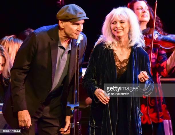 James Taylor and Emmylou Harris perform onstage at JONI 75 A Birthday Celebration Live at Dorothy Chandler Pavilion on November 07 2018 in Los...