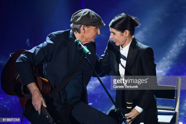 James Taylor and Giorgia attend the third night of the 68 Sanremo Music Festival on February 8 2018 in Sanremo Italy