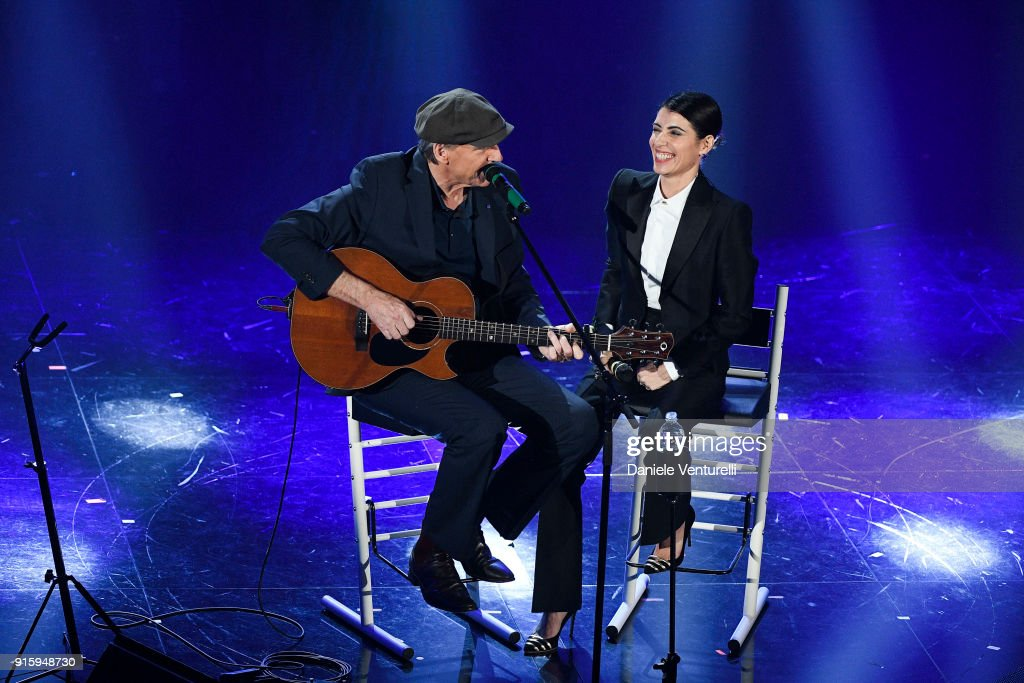James Taylor and Giorgia attend the third night of the 68. Sanremo Music Festival on February 8, 2018 in Sanremo, Italy.