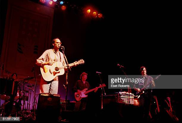 James Taylor and Jackson Browne performing at a 'Ban The Dam' concert at the Beacon Theater in New York City on October 7 1991