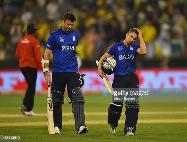 James Taylor and James Anderson of England leave the field at the end of the 2015 ICC Cricket World Cup match between England and Australia at...