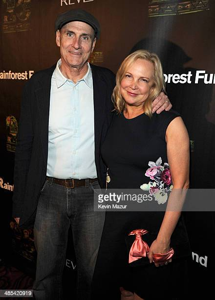 James Taylor and Kim Smedvig arrive at the 25th Anniversary Rainforest Fund Benefit at Mandarin Oriental Hotel on April 17 2014 in New York City