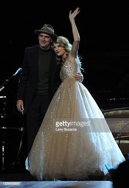 James Taylor and Taylor Swift perform onstage during the Speak Now World Tour at Madison Square Garden on November 22 2011 in New York City Taylor...