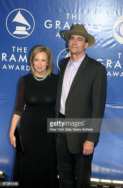 James Taylor and wife Kim Smedvig arrive at Madison Square Garden for the 45th annual Grammy Awards presentations