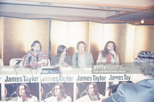 James Taylor at press conference January 1973 Tokyo Japan James Taylor Danny Kortchmar Leland Sklar Russ Kunkel