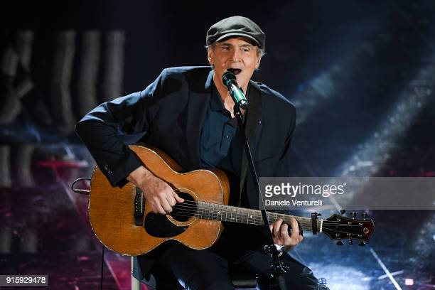 James Taylor attends the third night of the 68 Sanremo Music Festival on February 8 2018 in Sanremo Italy