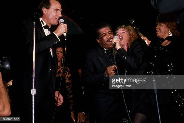 James Taylor, Diana Ross, Ben. E. King and Carole King performing at the 1990 Rock n Roll Hall of Fame Induction Ceremony circa 1990 in New York City.