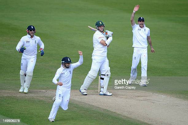 James Taylor of England celebrates catching out Graeme Smith of South Africa during day five of the 2nd Investec Test match between England and South...
